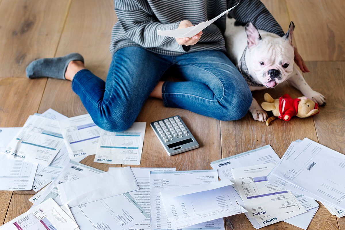 A woman with a dog reviews financial docements spread out on the floor.