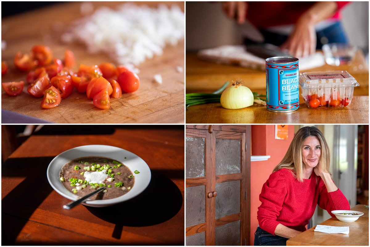 Tomatoes, canned black beans, black bean soup and a portrait of the cook are photographed in this quad of images to illustrate cheap meals to make.