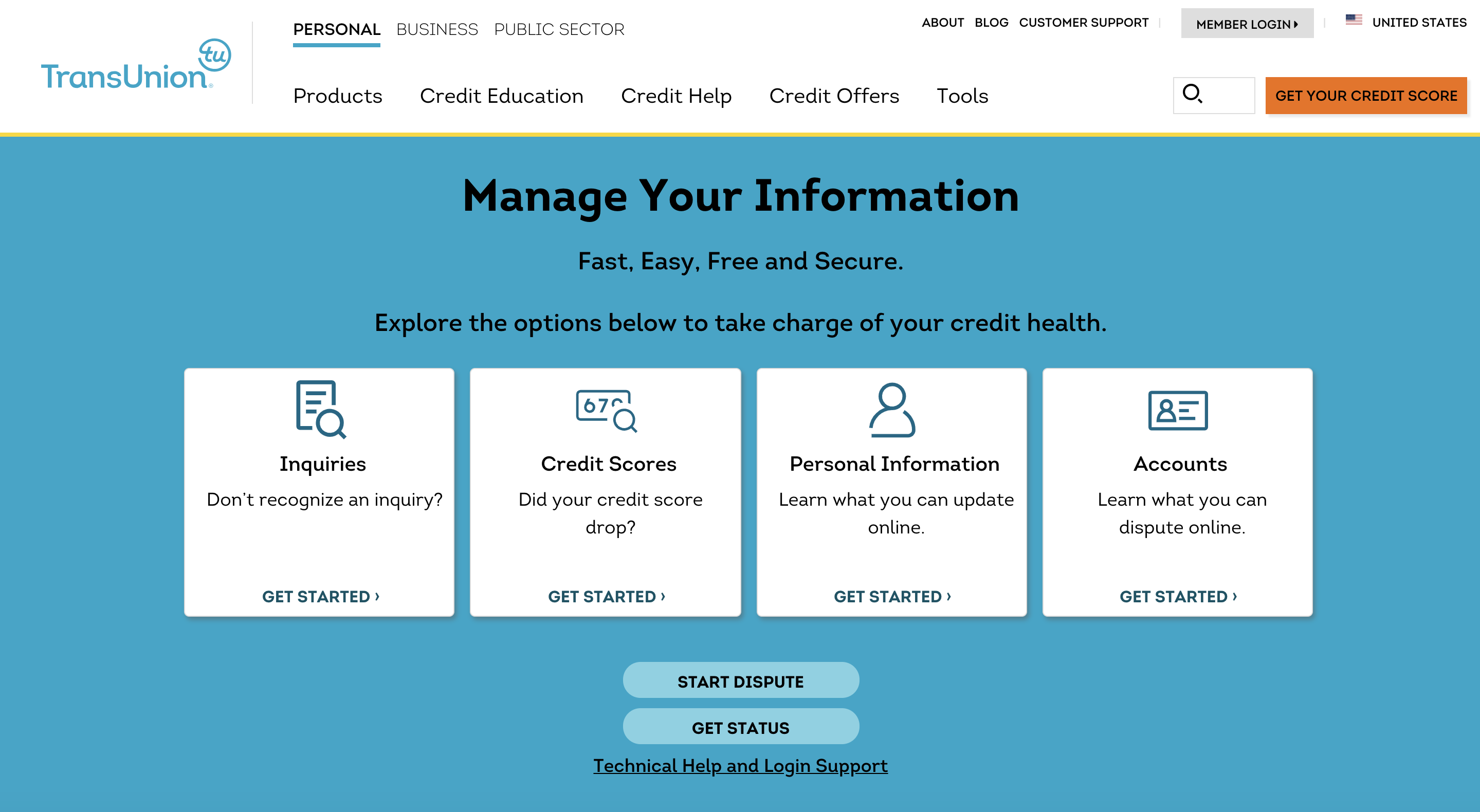 TransUnion credit report dispute center